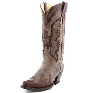 NIB Womens Corral R111 Brown Sequin Eagle Leather Cowboy Boots
