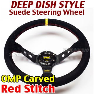 Deep Dish Steering Wheel Corsica Style 14 BLACK (Red Stitch) OMP