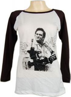 Johnny Cash Finger Flip Vtg Skinny LS T Shirt Women L