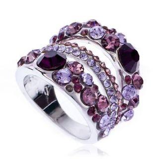 ARINNA Amethyst & Pink violet Cocktail Fashion Ring Swarovski Crystal