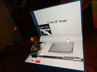 COTE D` AZUR MENS QUARTZ WATCH~CALCULATOR~PEN GIFT SET NIB