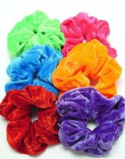 Large and soft coloured velvet hair scrunchie bright/neon or dark