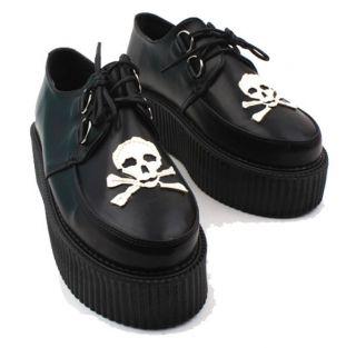 Creeper Punk Platform Flat Skull Womens/Lady/Girls Lace Up Heels Black