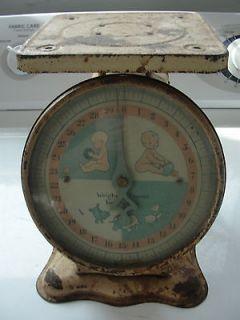 Vintage, old baby scale, original covered dial, metal