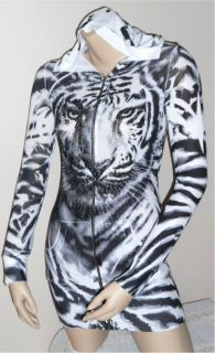 CRYSTAL ANIMAL TIGER TATTOO ZIP UP SWEATER HOODIE DRESS TUNIC & ED