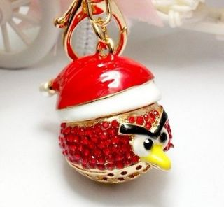 KeyChain New Red Hat Crystal Rhinestone Charm Purse Bag Key Chain Gift