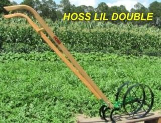 Lil Double Wheel Hoe Push Plow Garden Wheel Hoe Turn Plow Cultivator