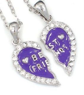 FRIEND Heart Purple 2 Pendants 2 Silver Tone Necklaces BFF Ship USA