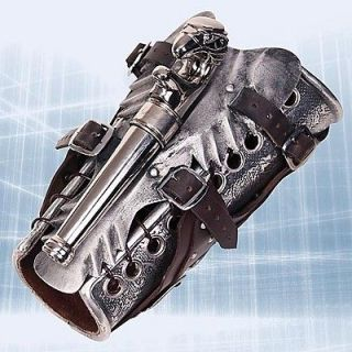 Assassins Creed II Leather/Steel Armored Vambrace w/Gun Replica *New*