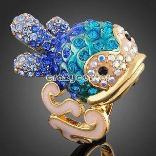 cute 18k yellow GOLD GP Swarovski crystal blue clown fish ring R52
