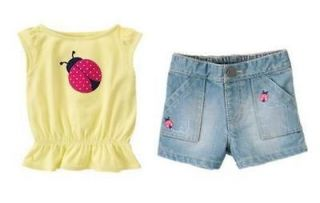 NWT GYMBOREE ladybug top shorts outfit 2T 2 CAPE COD CUTIE