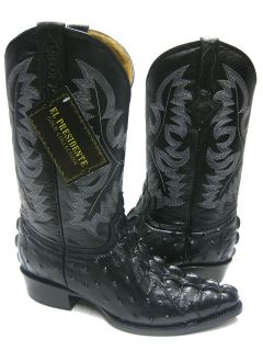 MENS BLACK LEATHER CROCODILE TAIL & OSTRICH QUILL COWBOY BOOTS