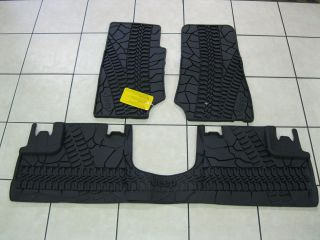 JEEP WRANGLER 4 DOORS RUBBER SLUSH MATS SET OF 3 MOPAR DK. SLATE OEM