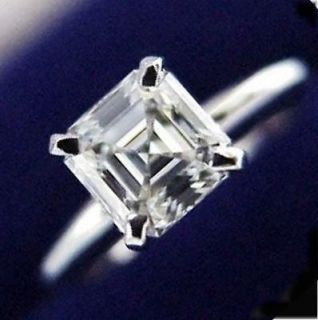 14K SOLID WHITE GOLD 1 ct ASSCHER CUT SOLITAIRE MAN MADE DIAMOND