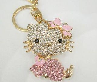 Pink Keychain Cat Hello Kitty Rhinestone Crystal Purse Bag Key Chain G