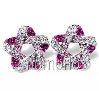 pink clear rock rhinestone lucky star charms crystal studs earrings