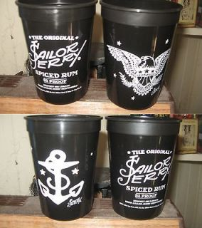 SAILOR JERRY RUM PLASTIC DRINKING CUPS Anchor & Eagle Designs NEW