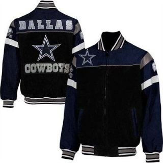 Dallas Cowboys Knockout Full Zip Suede Jacket   Black/Navy Blue By