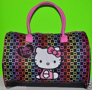 HELLO KITTY LARGE DUFFLE BAG HEARTS TOTE BAG OVERNIGHT BAG DANCE BAG