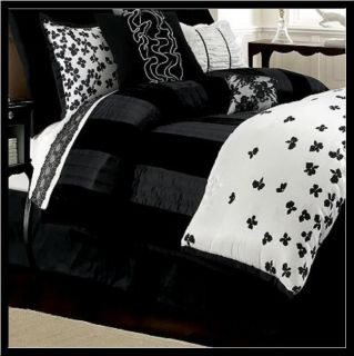 Daisy Fuentes ALLURE COVERLET KING BLACK Velvet & Satin Finish
