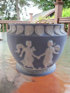 Early German art pottery blue & white jasperware vase