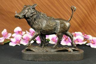 Signed Barye Wild Boar Animal Mascot Bronze Sculpture on Marble Base