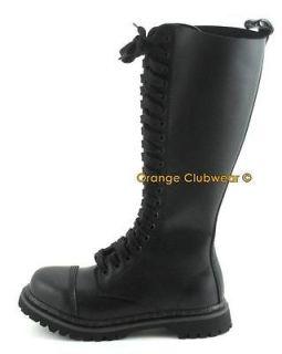 DEMONIA Mens Leather Steel Toe Knee High Combat Boots