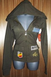 DEREON By Beyonce~Women LARGE Hooded Hoody Jacket Shirt Sweater Olive
