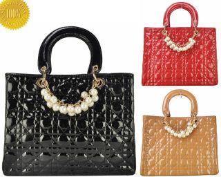 Ladies Designer Patent Quilted Tote Hobo Shoulder Bag Women Handbag