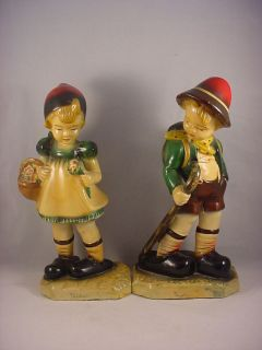 Vintage Hand Painted Devon Ware Fairytale Hansel & Gretel Figurines
