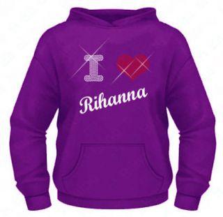 Ladies Diamante / Rhinestone I Love (heart) Rihanna hoodie XS XXL Gift
