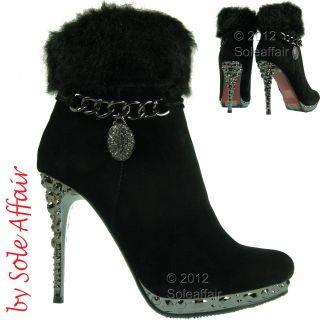 Womens Ladies Sexy Diamante High Heel Platform Faux Suede Fur Ankle