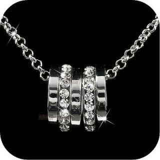18k white gold gp genuine SWAROVSKI crystal rings pendant necklace