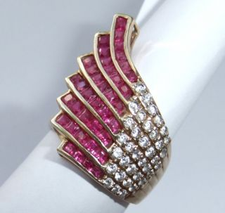 BIG DAZZLING RETRO VINTAGE 14K SOLID GOLD RUBY DIAMOND RING
