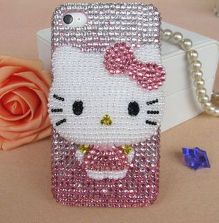 3D HOT Hello Kitty Bling Flatback DIY Phone iPhone4 4s 5 5g Case Deco