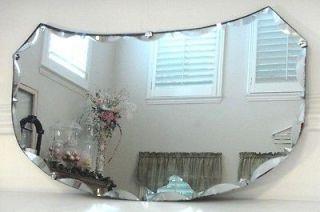 Vintage Art Deco Scalloped & Diamond Point Beveled Glass Mirror w