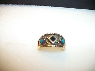 Mens Turquoise inlay Southwest Diamond Design Gold Tone Ring Size 5