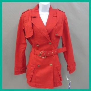 Diane Gilman Womens Studded Stretch Red Trench Coat S $89.90 Nwd Jmto