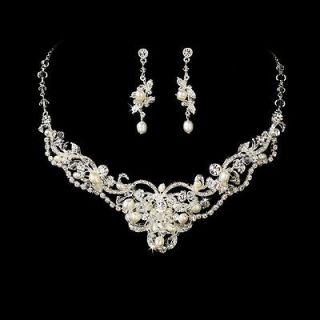 Elegant Silver Freshwater Pearl & Crystal Bridal Wedding Necklace