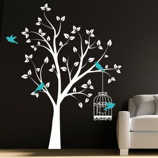 BEAUTIFUL TREE WITH BIRD CAGE AND FLYING BIRDS WALL ART STICKER DECAL