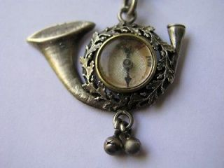 GERMAN SILVER WATCH CHAIN FOB COMPASS HUNTING HORN ACORN OAK LEAVES