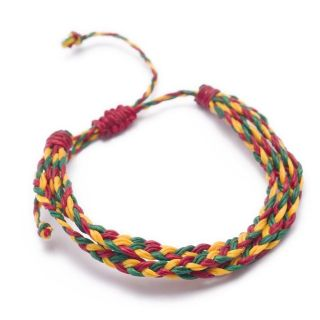 New braided rasta plaited adjustable hippie bracelet marley cotton