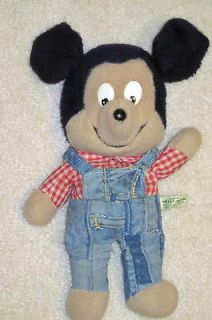 Vintage Knickerbocker Mickey Mouse Plush Toy Doll 13 inches blue