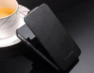 BLACK GENUINE HOCO DUKE REAL LEATHER CASE ACCESSORY W/FLIP IPHONE 4 4S
