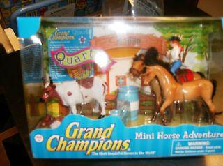 GRAND CHAMPIONS MINI HORSE ADVENTURE~DUN QUARTER HORSE RODEO SET~NIB