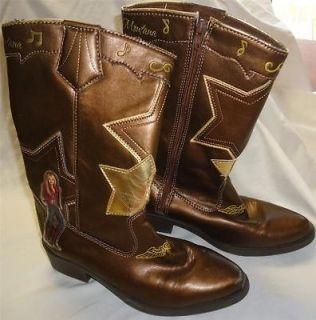 Girls Disney Hannah Montana Bronze Cowboy Boots Size 3