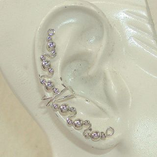 EAR CUFF Extra Long Fancy Sterling Wire with Beads