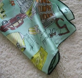 NEW Green City Space 100%Silk Square Scarf 21