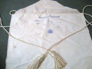 Vintage F&AM Masons Lambskin Apron Farmers Lodge No. 553 Edmeston NY