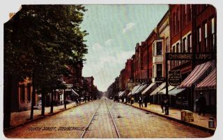 1907 STEUBENVILLE Ohio Postcard Jefferson County CHINAWARE LAMPS 4th
